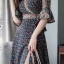 MD0014 เสื้อผ้าแฟชั่นเกาหลี เดรสเกาหลี เดรสยาว เดรสแฟชั่น แม็กซี่เดรส Maxidress ลายดอก Maxi Dress thumbnail 4