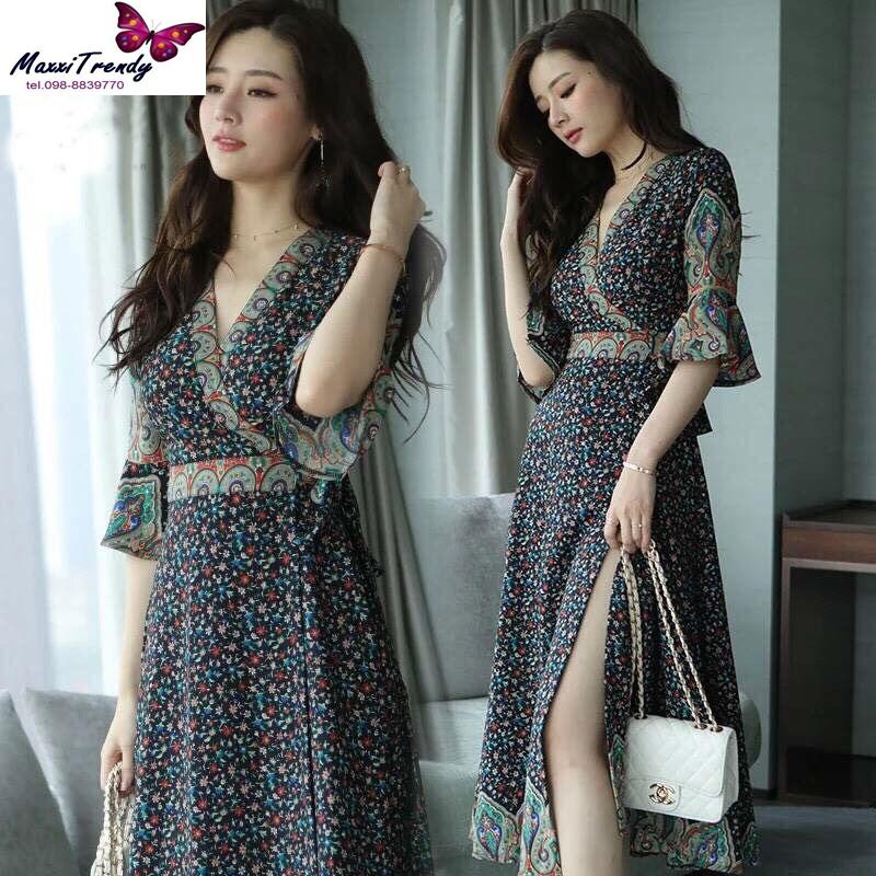 MD0014 เสื้อผ้าแฟชั่นเกาหลี เดรสเกาหลี เดรสยาว เดรสแฟชั่น แม็กซี่เดรส Maxidress ลายดอก Maxi Dress