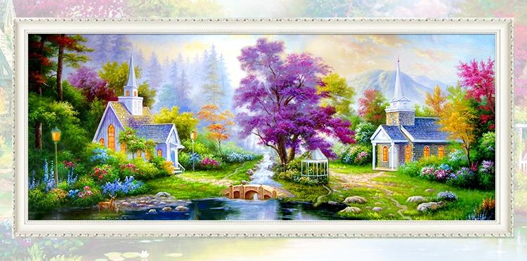 บ้าน ต้นไม้สีม่วง ครอสติสคริสตัล Diamond painting ภาพติดเพชร งานฝีมือ DIY