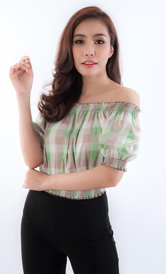 TP0015 เสื้อผ้าแฟชั่น เสื้อผ้าเกาหลี เสื้อเปิดไหล่ (สม็อคไหล่,เอว ) เสื้อแขนตุ๊กตา