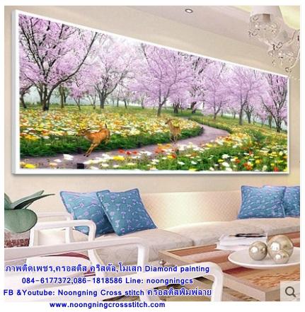 กวาง สวนดอกไม้ ภาพติดเพชร ครอสติชคริสตรัล โมเสก Diamond painting