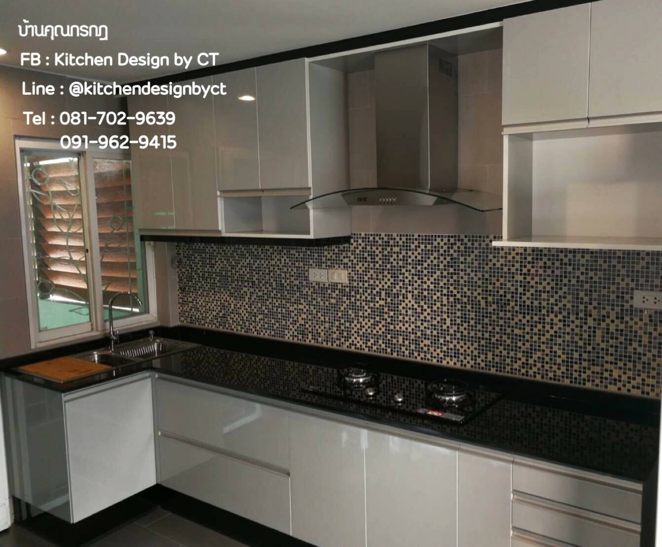 Modern Glossy Grey Kitchen (ชุดครัวบิ้วอินสีเทาเงาสไตล์โมเดิร์น)