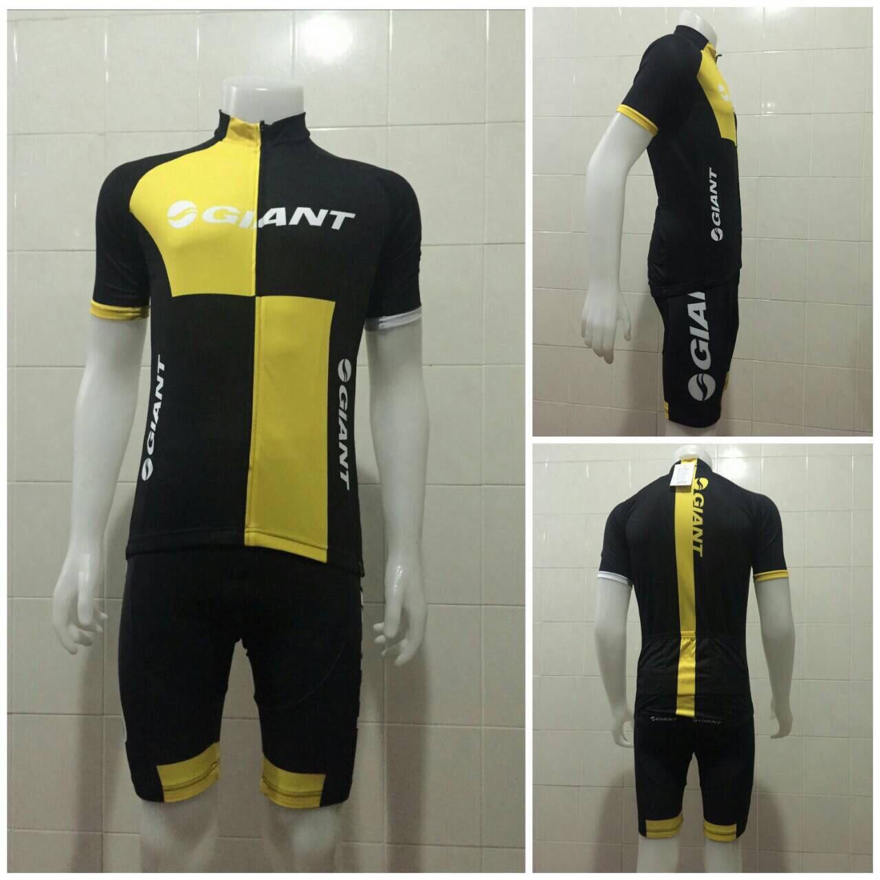 ชุดปั่นจักรยานแขนสั้น GIANT สีดำเหลือง เป้าเจล 5D (แอดไลน์ @pinpinbike ใส่ @ ข้างหน้าด้วยนะคะ)