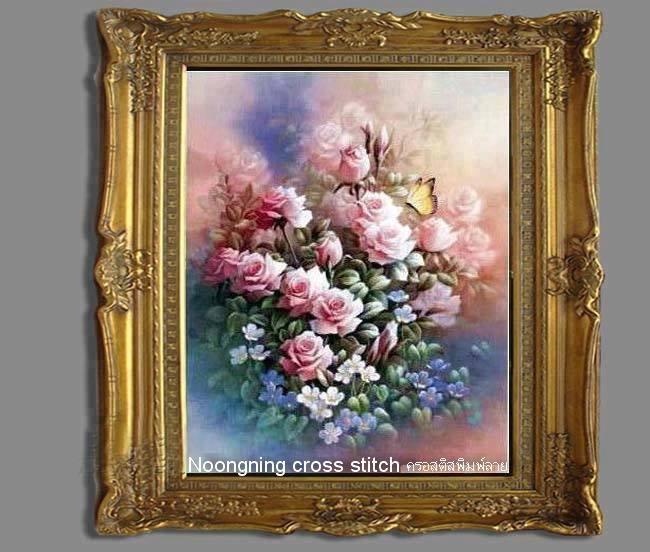 ดอกไม้ใสกรอบ ชุดปักครอสติช พิมพ์ลาย งานฝีมือ