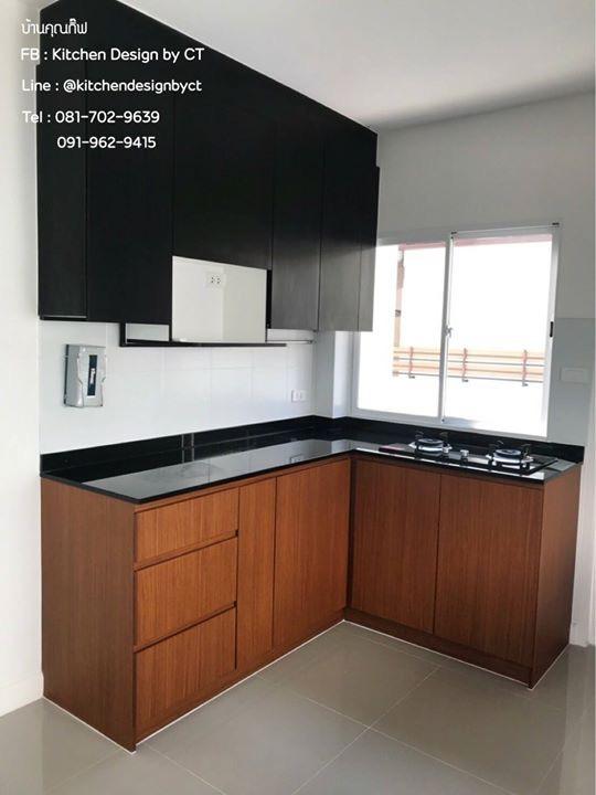 Dark Wooden Kitchen (ชุดครัวบิ้วอินลายไม้สีเข้ม)