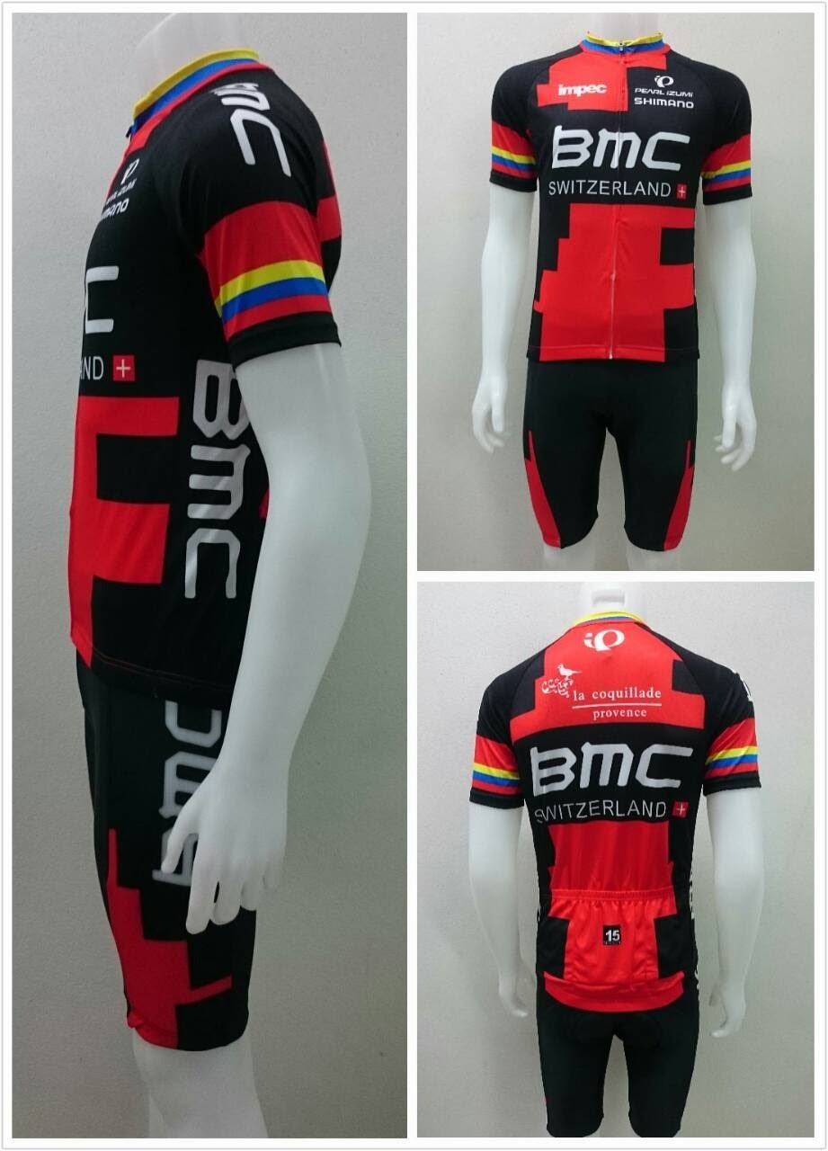 ชุดปั่นจักรยานแขนสั้น BMC สีแดงคอสี เป้า 3D (แอดไลน์ @pinpinbike ใส่ @ ข้างหน้าด้วยนะคะ)
