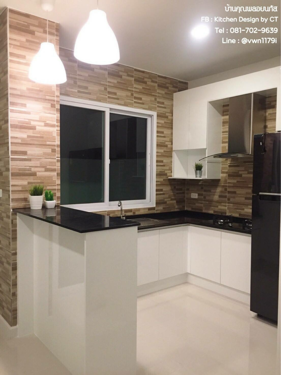 White & Black Kitchen (ครัวบิ้วอินสีขาวสไตล์โมเดิร์น)