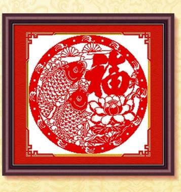 ปลาคู่สีแดง ชุดปักครอสติช พิมพ์ลาย งานฝีมือ