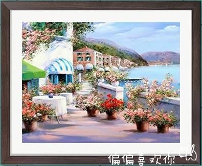 บ้านริมทะเล ภาพติดเพชรDiamond painting
