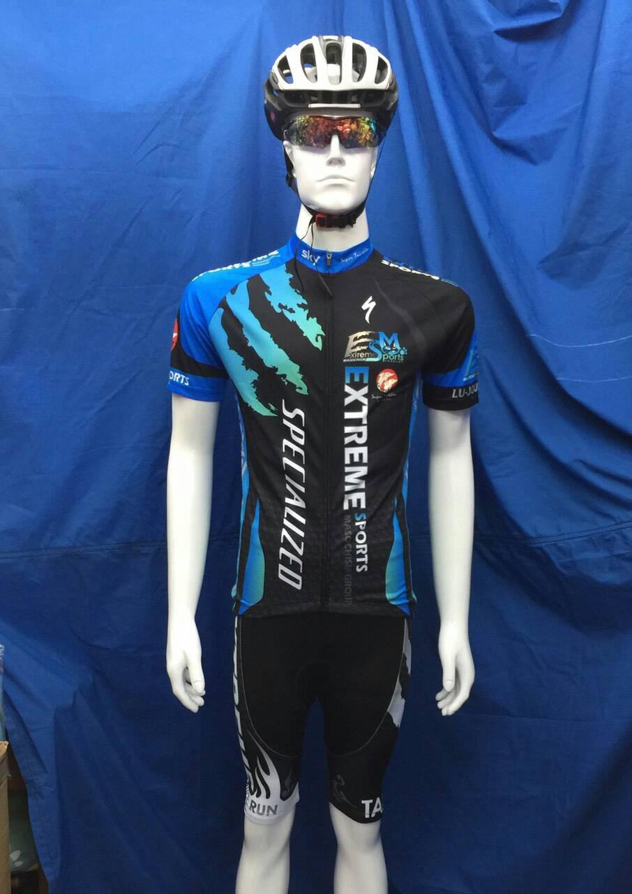 ชุดปั่นจักรยานแขนสั้น ลาย EXTREME SPECIALIZED สีฟ้า-ดำ เป้าเจล (แอดไลน์ @pinpinbike ใส่ @ ข้างหน้าด้วยนะคะ)