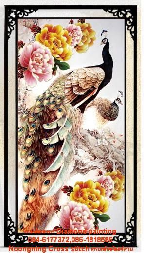 นกยูงคู่ดอกโบตั๋น ภาพติดเพชรDiamond painting