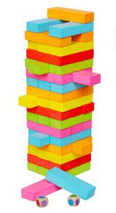 Jenga เกมตึกถล่มแบบไม้ (คอนโดไม้) แบบสี