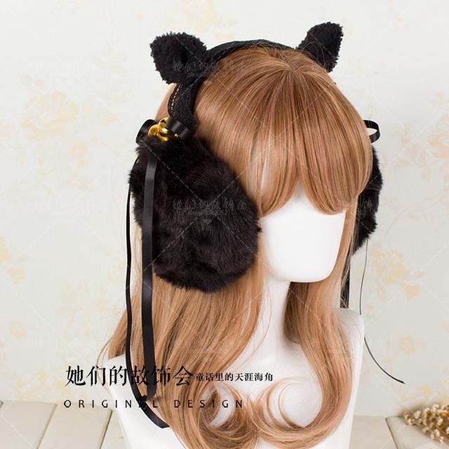 Pre-Order Earmuffs หูแมวแต่งกระพรวนและริบบิ้นดำ มี2สี