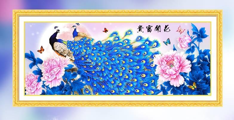 นกยูงคู่ ครอสติสคริสตัล Diamond painting ภาพติดเพชร งานฝีมือ DIY