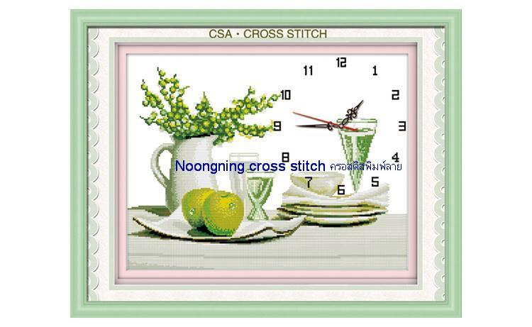 นาฬิกาสีเขียว ชุดปักครอสติช พิมพ์ลาย งานฝีมือ
