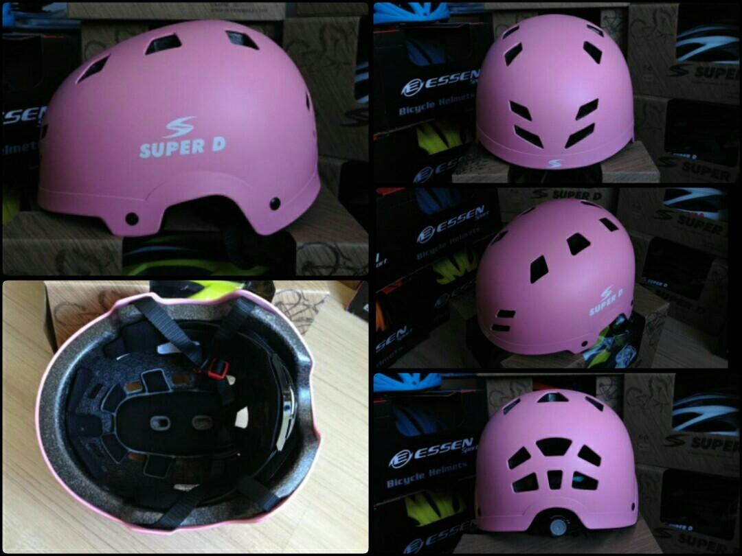 SALE50% หมวก super d รุ่นสเก็ตบอร์ด สีชมพู (แอดไลน์ @pinpinbike ใส่ @ ข้างหน้าด้วยนะคะ)