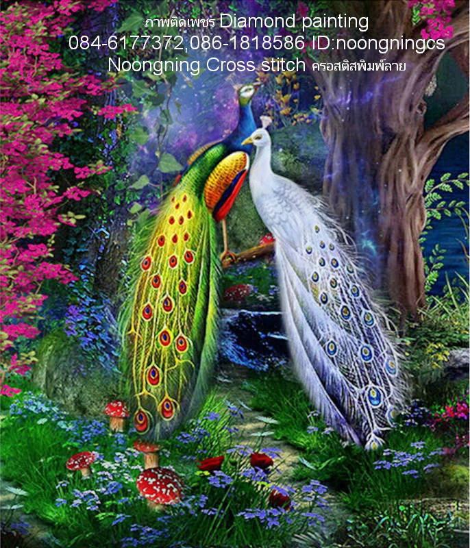 นกยูงคู่ มงคล ภาพติดเพชรDiamond painting