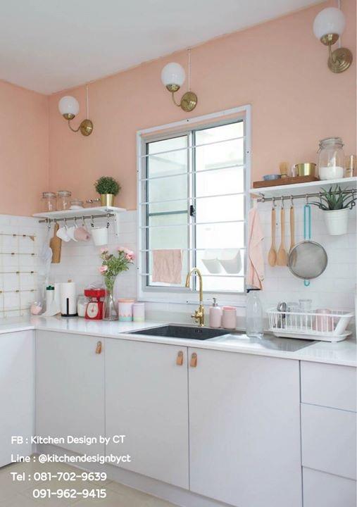 Pink Pastel Classic Kitchen (ชุดครัวบิ้วอินสีชมพูพาสเทล)