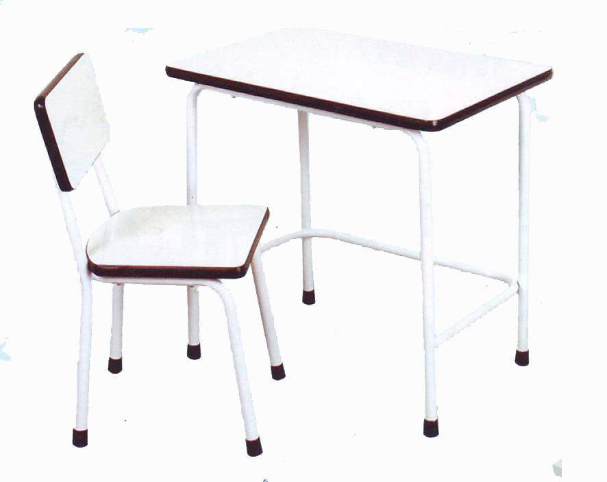 โต๊ะเรียนเด็กอนุบาล หน้าโฟเมก้าขาว โครงเหล็ก