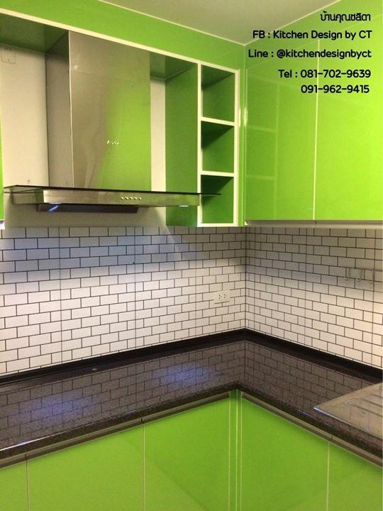 Super Green Modern Kitchen (ชุดครัวบิ้วอินสีเขียวสไตล์โมเดิร์น)