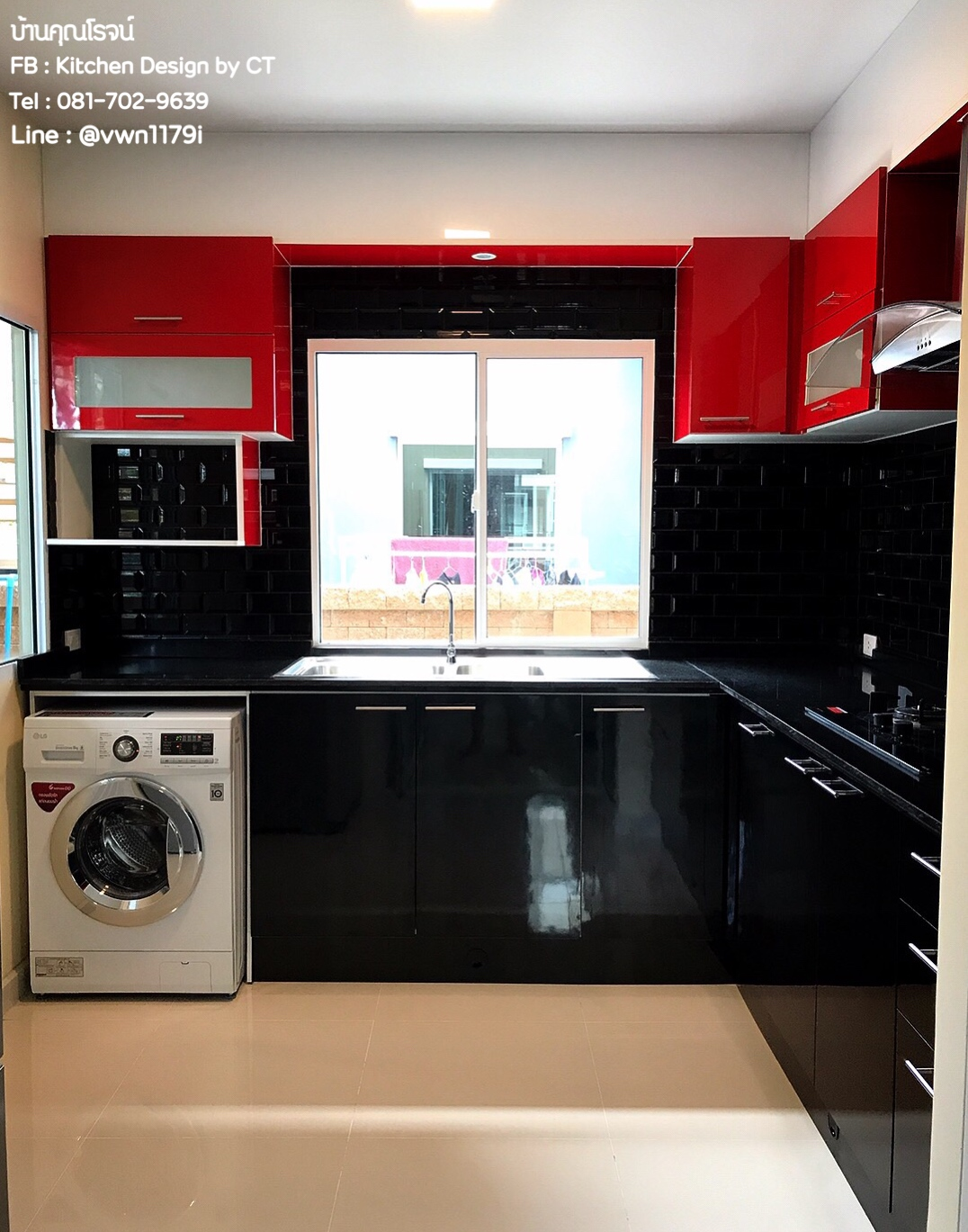 Black & Red Kitchen (ครัวบิ้วอินสีดำ-แดงสไตล์โมเดิร์น)