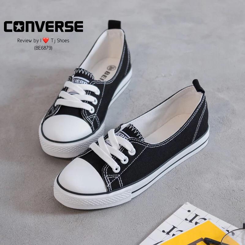 รองเท้าผ้าใบ ส้นเเบน(สีดำ)
