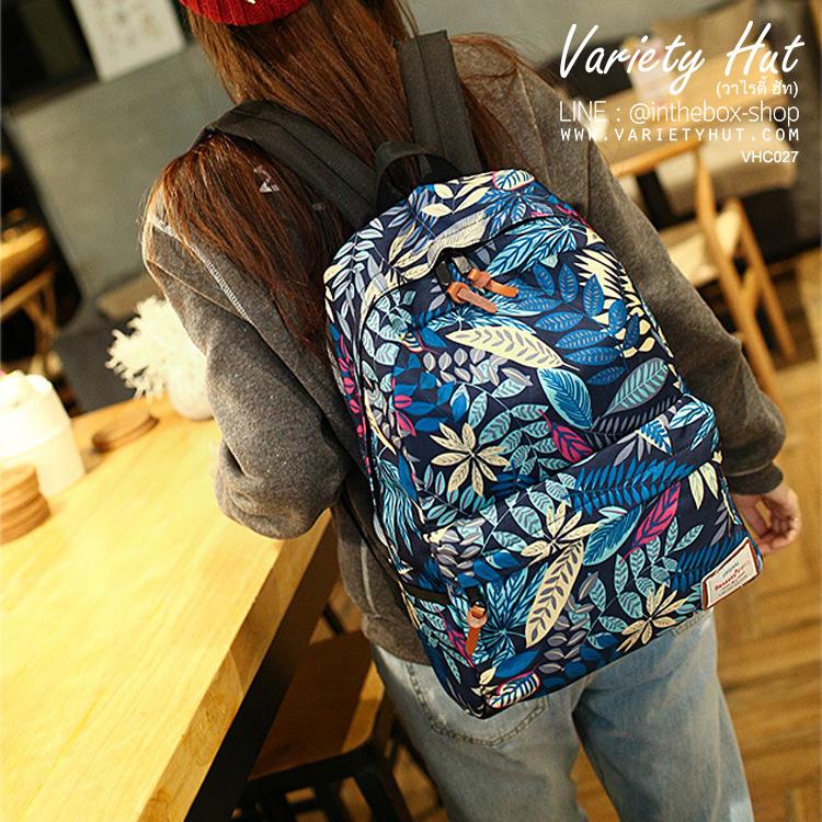 กระเป๋าเป้สะพายหลังใช้ได้ทั้งชาย-หญิง กระเป๋าเป้สไตล์เกาหลี - สีน้ำเงิน (มี 2 ขนาด)