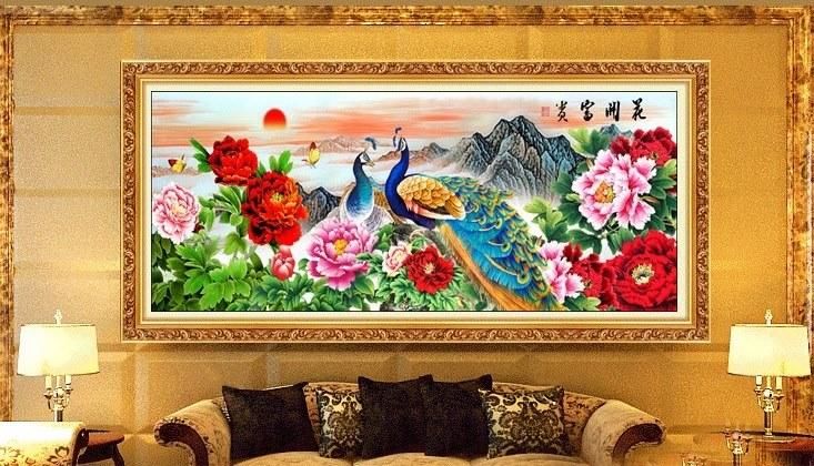 นกยูงครอสติสจีนพิมพ์ลาย