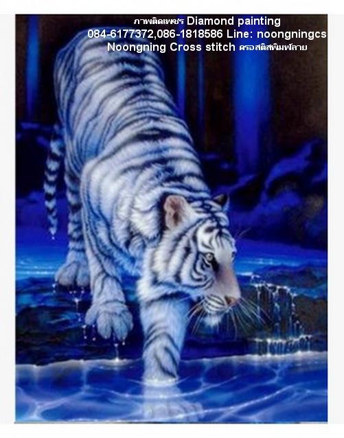 เสือขาว ภาพติดเพชร Diamond painting
