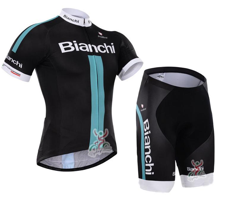 ชุดปั่นจักรยานแขนสั้น BIANCHI 2015 สีดำแถบฟ้า เป้าเจล (แอดไลน์ @pinpinbike ใส่ @ ข้างหน้าด้วยนะคะ)