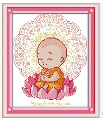 happy buddha ชุดปักครอสติช พิมพ์ลาย งานฝีมือ