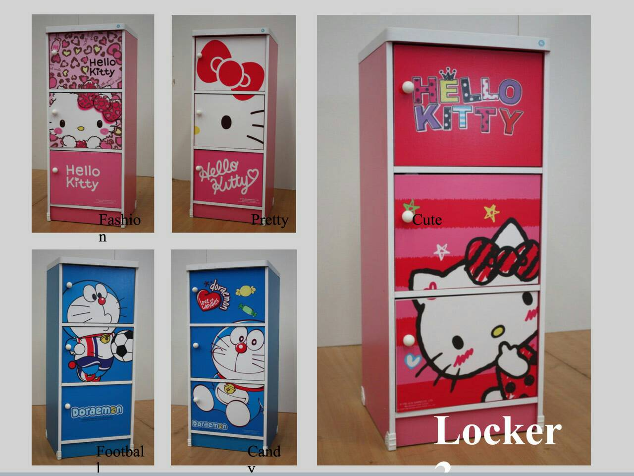 ตู้ล็อกเกอร์คิตตี้ 3 ประตู พร้อมกุญแจล็อก