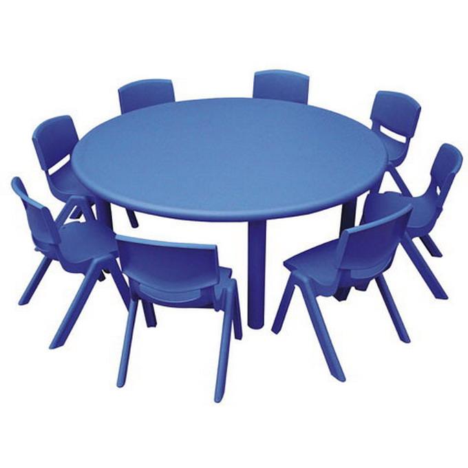 โต๊ะพลาสติกเด็กอนุบาล โต๊ะเรียนหน้าพลาสติกขาเหล็ก ขนาด 110*110*52 ซม.