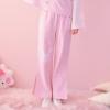 Pre-Order กางเกงขายาวสีชมพูแต่งรอยแหวกปลายขา ลายกระต่ายและแครอท