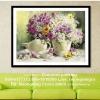 แจกันดอกไม้ ครอสติสคริสตรัล ภาพติดเพชร อุปกรณ์ DIY
