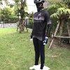 C2 เสื้อปั่นจักรยาน แขนยาว ไว้อาลัย สีดำ ลายพระราชวัง