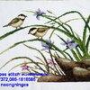 นกคู่ ดอกหญ้า ครอสติสปักสำเร็จ