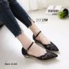 รองเท้าคัทชูส้นแบน รัดข้อ หัวแหลม (สีดำ)