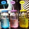 (ตำหนิ) ขวดแก้วทรงสูงสีพาสเทล Treein Art แก้วน้ำแบบมีฝา พร้อมหลอด (มี 2 สี)