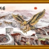 เหยี่ยว กำแพงเมืองจีน ภาพติดเพชรDiamond painting