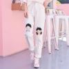 Pre-Order กางเกงยีนส์ขายาวสีขาว ปักลายเด็กชาย-หญิง
