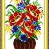 ดอกไม้ในแจกันครอสติสจีนพิมพ์ลาย