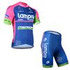 ชุดปั่นจักรยานแขนสั้น LAMPRE MERIDA สีชมพู-น้ำเงิน เป้าเจล (แอดไลน์ @pinpinbike ใส่ @ ข้างหน้าด้วยนะคะ)