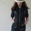 เสื้อผ้าแฟชั่น เสื้อผ้าเกาหลี ชุดเซท ชุดเซต เสื้อกางเกง เสื้อคอวี เสื้อเอวลอย กางขาสั้น ชุดลายดอก Poppular Set เซ็ตเสื้อแขนสั้นดีไซน์ใส่ซิปแยกชิ้นด้านหน้า กางเกงขาสั้น
