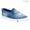 รองเท้าผ้าใบ แนวสตรีท ผ้ายีนส์ ลายกราฟฟิค (สีน้ำเงิน )
