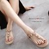 รองเท้าแตะส้นขนมปัง รัดส้น (สีชมพูนู้ด )