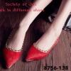 รองเท้าคัทชูส้นแบน หัวแหลม สไตล์ VALENTINO ผ้าขน(สีแดง)