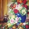 ดอกไม้ในแจกัน ภาพติดเพชร Diamond painting