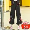 Pre-Order กางเกงขายาวขาบานชายระบายสีดำ แต่งเชือกร้อย