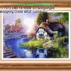 บ้านริมธาร ภาพติดเพชรDiamond painting